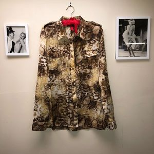 Silky Button Up Animal Print Top